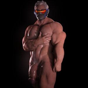 overwatch-free-sex-art-–-male,-bara,-nsfwmaker,-muscular,-solo,-grey-hair.