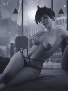 overwatch-rule-sixplusone,-female,-breasts,-black-and-white,-short-hair.