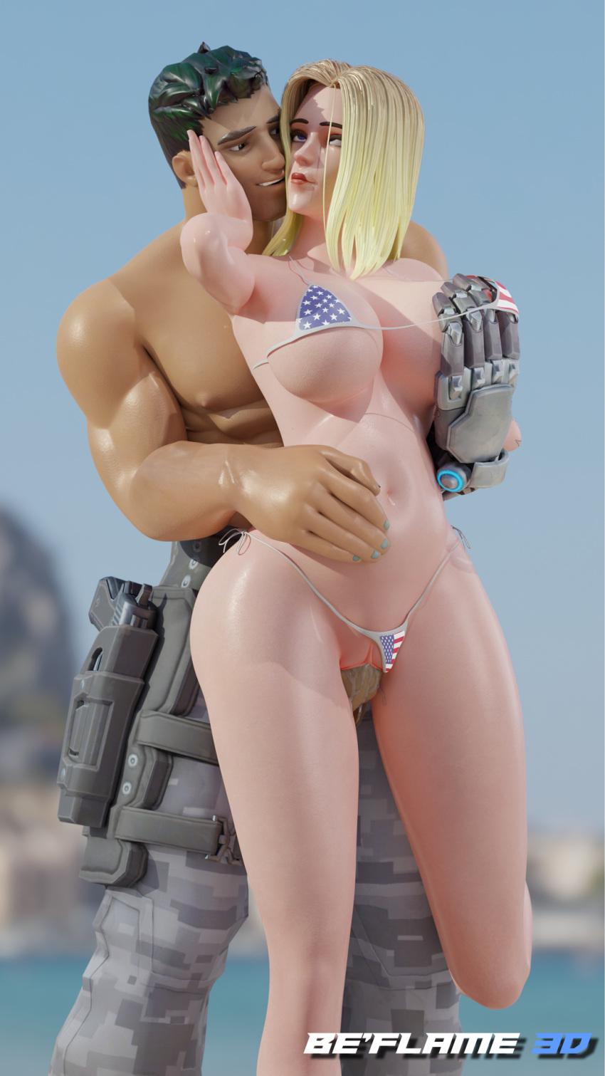 ashe-porn-hentai-–-blonde-hair,-short-hair,-curvy,-american-flag-bikini.