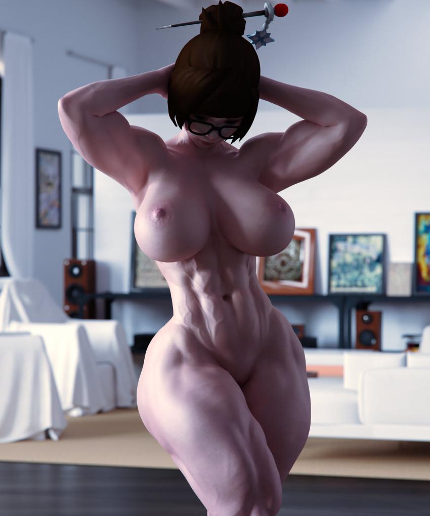 mei-game-porn-–-veins,-flexing,-dashieig-breasts,-indoors,-muscular-female,-standing.