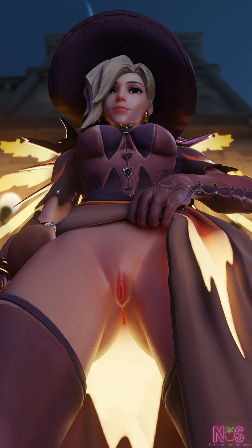 overwatch-porn-hentai-–-witch-mercy,-witch-hat,-exposed-nipples,-witch,-mercy,-looking-at-viewer.