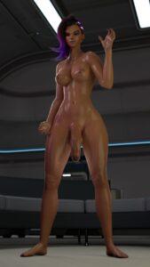 overwatch-hentai-xxx-–-dark-skinned-futanari,-nude,-blender,-breasts.