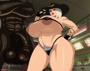 ashe-game-hentai-–-gigantic-penis,-dark-nipples,-micro-bikini,-piercing,-white-hair.