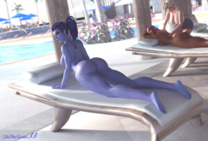 overwatch-rulern-–-widowmaker,-looking-at-viewer,-sombra,-female-only,-wide-hips.