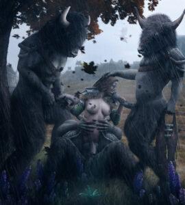 skyrim-game-porn-–-the-elder-scrolls,-aela-the-huntress,-minotaur,-wasmachensachen,-ls,-monster.