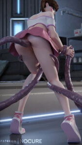 overwatch-porn-–-standing,-dva,-skimpy-clothes,-ass,-looking-at-viewer,-bent-over.