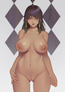 overwatch-hentai-porn-–-facial-mark,-orange-eyes,-hand-on-hip,-nude,-tattoo,-female,-closed-mouth.