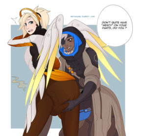 ana-rulern,-mercy-rulern-–-dark-skin,-speech-bubble,-looking-at-another,-tumblr-username,-text,-blue-background,-english-text.