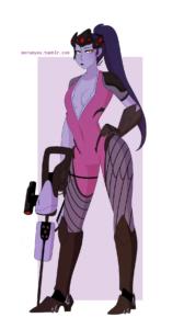 widowmaker-rulex-–-web-address,-yellow-eyes,-dress,-purple-bodysuit,-hand-on-hip,-colored-skin,-bodysuit.