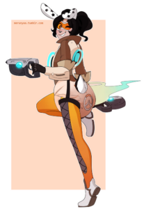 tracer-hentai(cosplay)-–-orange-background,-messy-diaper,-bunny-ears,-smell.