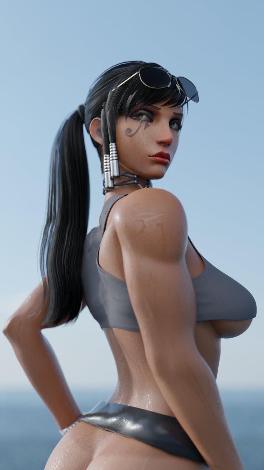 overwatch-rulern-–-skirt,-presenting,-females-only,-dark-skinned-female,-creamtau,-pharah.