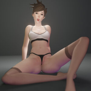 overwatch-rulern-–-looking-at-viewer,-bra,-spread-legs,-sitting,-tracer,-female,-ahe-gao.