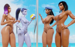 overwatch-sex-art-–-hands-on-hips,-beach,-egyptian,-fit-female,-breasts,-mother-and-daughter,-female-only.