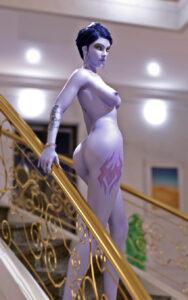 overwatch-hentai-porn-–-yellow-eyes,-solo-female,-widowmaker,-sideboob,-blue-hair.