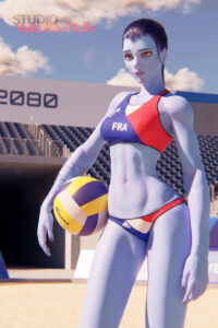 overwatch-sex-art-–-solo-female,-french-flag,-female,-navel,-sports-uniform.
