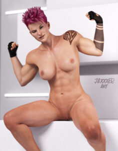 overwatch-free-sex-art-–-short-hair,-winking,-muscular,-shaved-pussy,-thick-thighs.