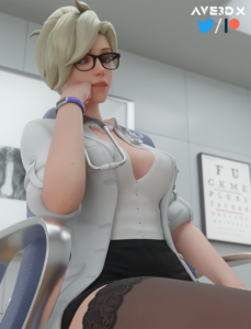 overwatch-game-hentai-–-labcoat,-stockings,-ave-mercy,-cleavage,-3d.