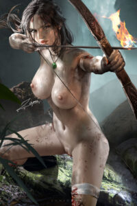 tomb-raider-game-hentai-–-cuts,-brown-hair,-bow,-realistic,-bandages.