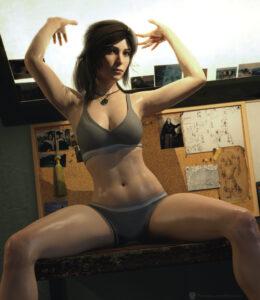 tomb-raider-hentai-–-ls,-brown-hair,-hands-above-head,-navel,-looking-at-viewer.