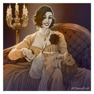 resident-evil-game-porn-–-alcina-dimitrescu,-resident-evil-illage,-smiling,-ripped-clothing,-yuri,-sleep-molestation,-vampire.