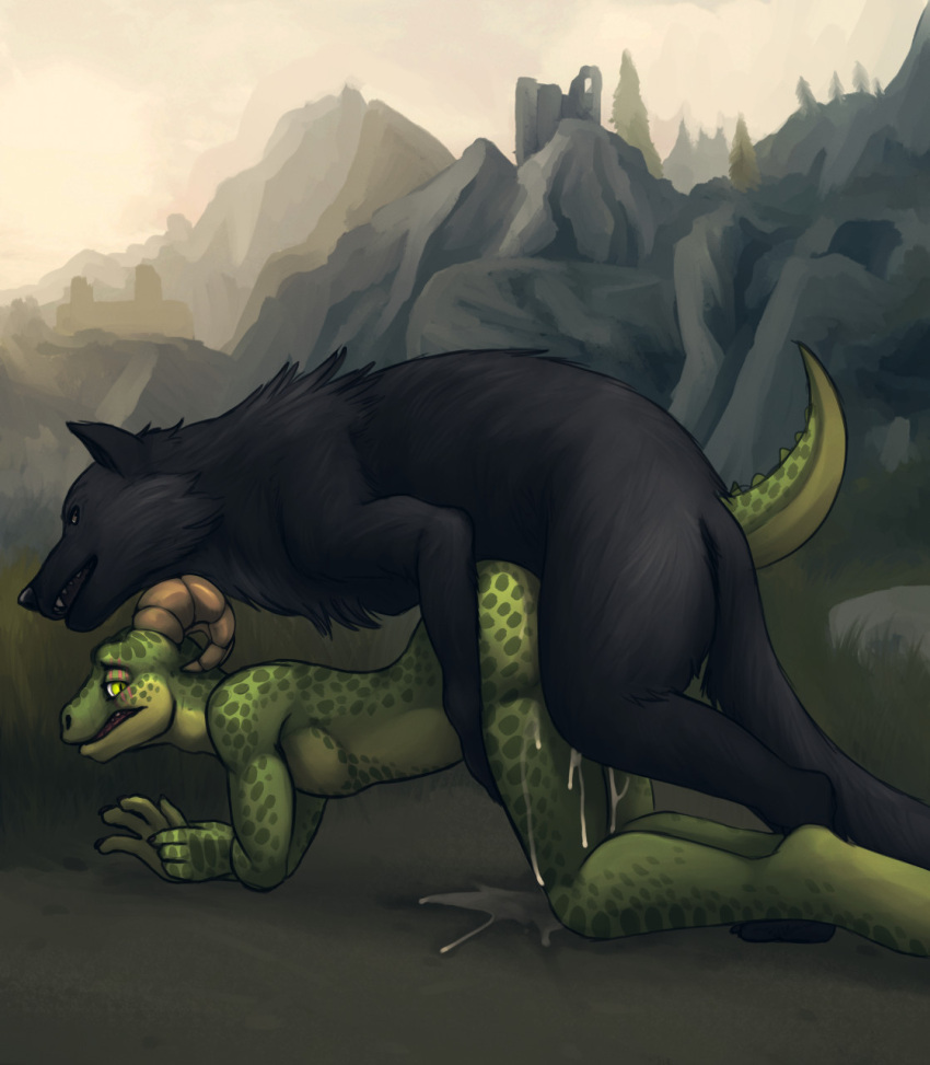 skyrim-game-porn-–-anthro-on-feral,-canine,-green-eyes,-outside-sex,-cum.