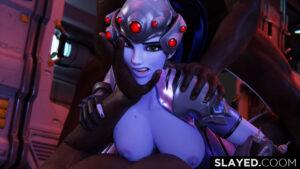 overwatch-hentai-porn-–-pinning,-dark-skinned-male,-widowmaker,-slayedcoom,-hand-on-head,-gloves.