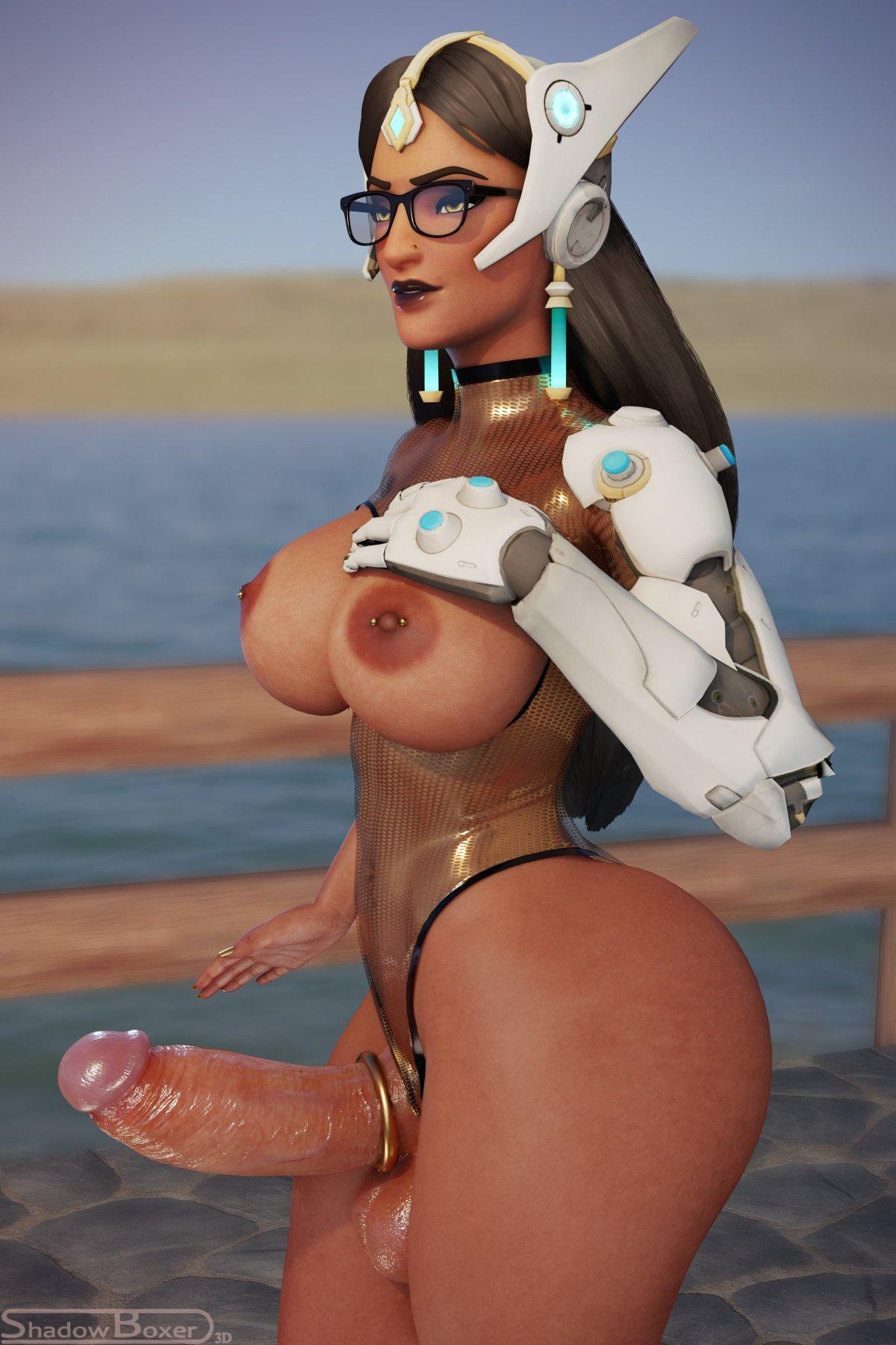 overwatch-porn-–-symmetra,-breasts,-solo,-nipples,-dark-skinned-futanari
