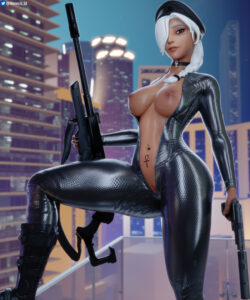 overwatch-game-hentai-–-leather,-unzipped-bodysuit,-female-only,-ponytail,-milf,-shaved-pussy