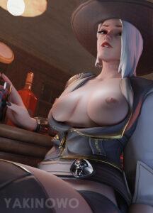 ashe-hot-hentai-–-white-hair,-drinking,-breasts,-mole,-blizzard-entertainment,-nipples