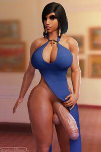overwatch-rule-–-futanari,-dark-skinned-futanari,-large-breasts,-cleavage,-big-breasts,-dark-skin,-blender