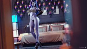 overwatch-porn-hentai-–-red-nail-polish,-hourglass-figure,-widowmaker,-lingerie,-high-heels,-choker,-bedroom-eyes