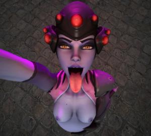 overwatch-xxx-art-–-purple-skin,-hand-on-belly,-vore,-widowmaker,-same-size-vore,-nipples