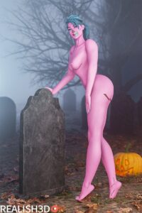fortnite-xxx-art-–-nude,-pink-skin,-long-hair,-breasts,-human,-blue-hair,-halloween