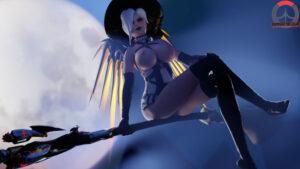overwatch-hentai-–-stockings,-crossed-legs,-looking-at-viewer,-corset,-large-breasts,-mercy,-glowing-eyes