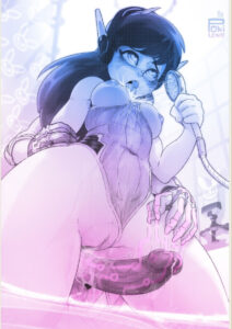 overwatch-rule-porn-–-dark-skinned-futanari,-clothing,-tongue-out,-light-skinned-female,-leotard-aside,-d.va