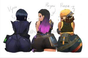raze-xxx-art,-reyna-xxx-art,-viper-xxx-art-–-short-hair,-looking-back,-belt,-female-only,-ass-up,-tight-clothing.