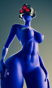 trilogy-porn-hentai-–-female,-hand-on-hip,-areolae,-wide-hips,-blue-skin,-helmet,-breasts.
