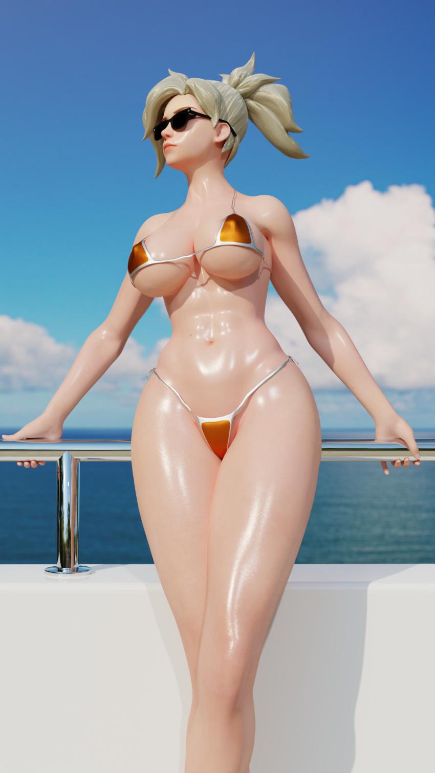 overwatch-rule-sunglasses,-bikini,-abs,-female,-blonde-hair,-shiny-skin,-mercy.