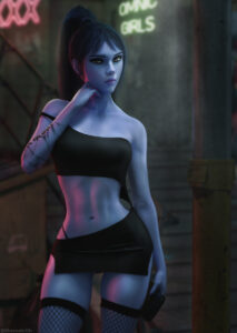 overwatch-game-hentai-–-one-shoulder-top,-skimpy,-female-only,-ponytail.