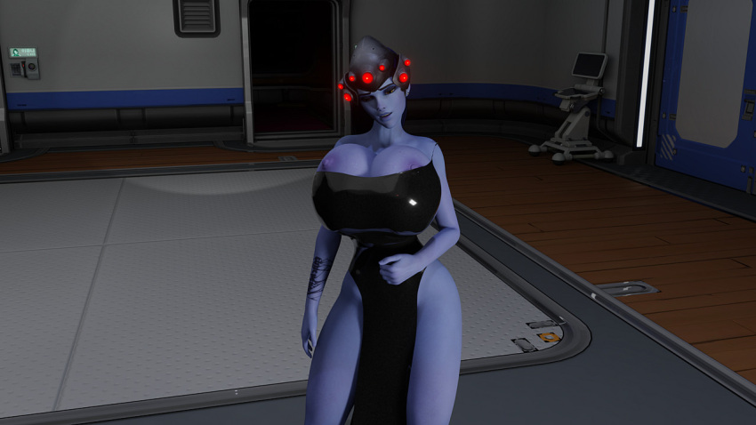 overwatch-hentai-–-blue-skin,-latex,-blender,-tight-clothing,-nipple-slip,-widowmaker.