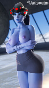overwatch-hentai-–-blue-skin,-arms-crossed,-topless,-areolae,-ls,-yellow-eyes.